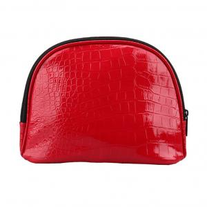 China Girl PU Red Leather Makeup BagZip Around With Separate Compartments on sale