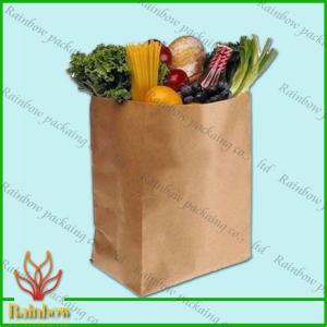 China Artículo reciclable de las bolsas de papel de encargo de Brown Kraft para la fruta on sale