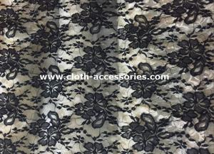 China 50 Decorative Extra Wide Nylon Lace Fabric Black For Wedding Dresses on sale