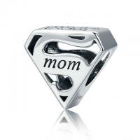 China Authentic Engrave 925 Oxidized Sterling Silver Beads Family Jewelry For Mother Gift on sale