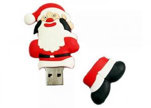 China Unique Red Santa Claus PVC Customized USB Flash Drives /  Christmas Gift PVC Custom USB Memory Stick on sale
