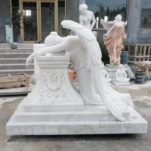China Marble Tombstone White Cemetery Crying Angel  Statue Stone hand carved on sale
