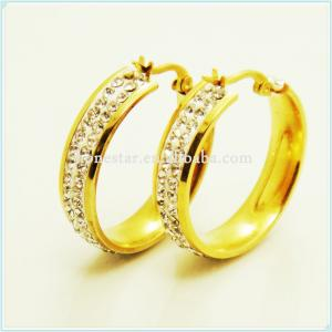China Wholesale white gems designs gold earring rings on sale