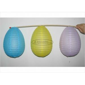 China Blue Yellow White Egg Shaped Paper Lanterns For Easter Festival Decoration on sale
