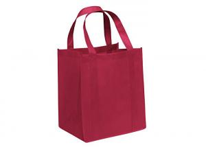 China Red Reusable Large Capacity Non Woven Carry Bags Stronger Top To Bottom Handle on sale