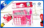 Pink / Green Mini Office Stationery Set With Plastic Bag Package