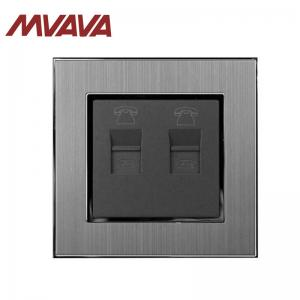 China MVAVA Double RJ11 TEL electrical wall Socket 110-250V Satin Metal Frame panel on sale