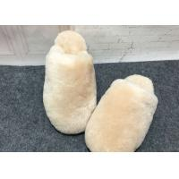Indoor Fluffy Sheep Wool Slippers Handmade With Rubber Sole / Real Lambskin Fur