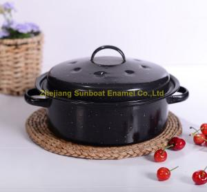 China mini size cast iron black hand-painted enamel cookware stock pot on sale
