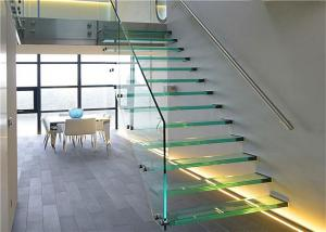 Quality Prima Building Floating Steps Staircase Laminated Glass Steps Floating Straight for sale