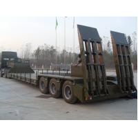 Green Red Low Bed Semi Trailers With Hydraulic Mechanical Suspension