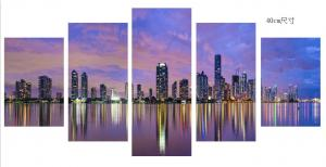 China City Night Scenery Living Room Canvas Art , Popular Stretched Canvas Wall Art on sale