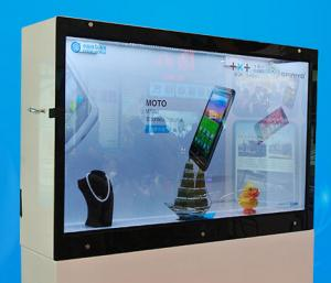 China Shopping Mall Jewelry Transparent LCD Signage Display Box IR Remote Controller on sale