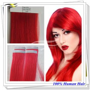 China Nina Hair AAAAA Grade Natural Highlighted PU Skin Weft Red Tape Hair on sale