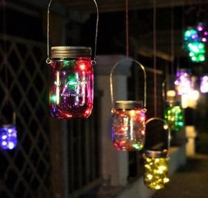 China Christmas light Solar Power Hanging Glass Jar Lamp 8 LED Beads Garden Courtyard Landscape Decor Light on sale