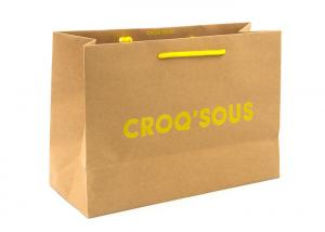China Eco Friendly Kraft Paper Shopping Bags With Handles Customized Logo Printing on sale