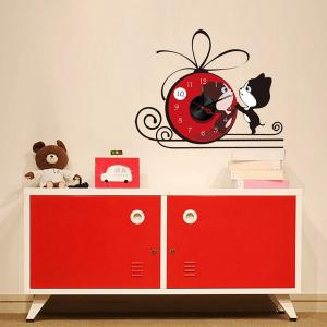 China 4C printing Red Vinyl Durable Cartoon Wall Stickers, with Metal Clock 10A118 on sale