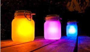 China Frosted Glass Landscape Solar Lights Outdoor Jam Jar Solar Lights For Decorative on sale