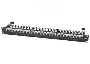 China Cold Rolled Steel Cat6 Shielded Patch Panel , Screened 568A B 24 Way Patch Panel on sale