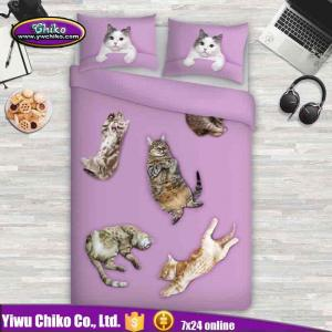 China 3D High Digital Cat Printed Bedding Sets on sale