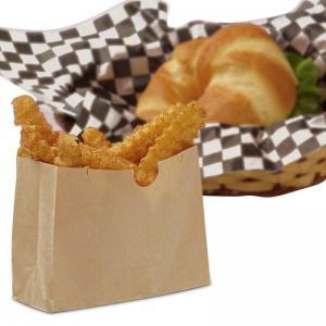 China Brown Paper Food Bags / Kraft Paper Snack Sacks Gusseted Type Grease Resistant on sale