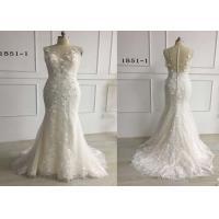 3D Embroidery White Mermaid Style Wedding Dress For Girls Glitter Tulle Sleeveless