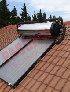 China Rooftop Compact Solar Water Heater Blue Titanium Coating Flat Plate Solar Collector on sale