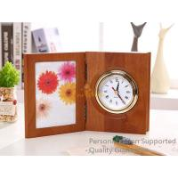 China Good Quality Home/Office Decoration Matte Walnut Photo Frame Desk Top Table Clock, Small Order, Quality Guarantee on sale