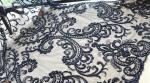 Black Heavy Beaded Mesh Fabric By The Yard , Embroidered Net Fabric With Beads
