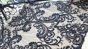 China Black Heavy Beaded Mesh Fabric By The Yard , Embroidered Net Fabric With Beads on sale