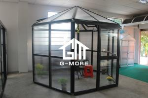 China 320 X 283 X 275CM Dark Grey Color New Design Hexagon Aluminum Greenhouse on sale