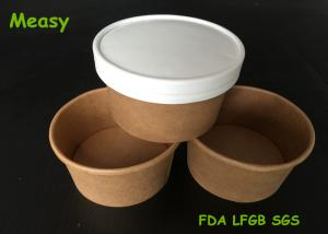 China Insulated 8oz Kraft Thick Paper Soup Bowl With Non vented Paper Lid on sale