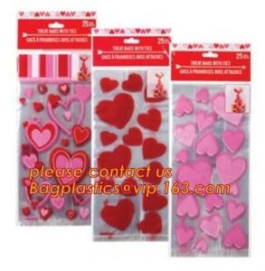 China Decorative Candy Cello Bag Valentine's Day Clear Plastic Treat Bag,valentine's day Promotion gift colorful heart silicon on sale