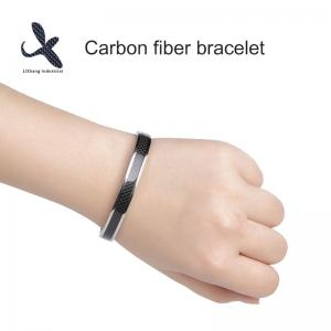 China Fashion health energy bracelet silver carbon fiber Cuff Bracelet  Jewery Bangles on sale
