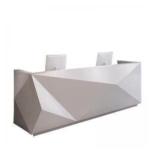 China Special Shape Manager Office Furniture White Counter For Company / Hotel Front Desk on sale