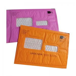 China Pink Kraft Shipping Envelopes , Kraft Padded Mailers Window Ideal For Address Label on sale