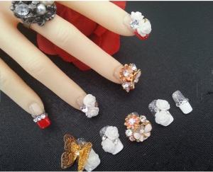 Hot Summer Nail Art Design 3d False Nails Rhinestones Gel