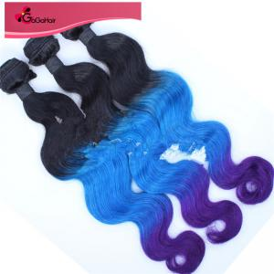 "China 100% Human Hair Weave Brazilian Virgin Ombre T1B/Blue/Purple# Body Wave Ombre Human Hair Wave 8""-28"" on sale"
