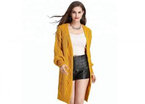 China Winter Cable Cozy Knit Sweater Yellow Thick Cardigan Open Front For Woman on sale