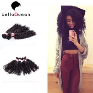 China Girl use Tangle-Free European Curly Human Hair extension Can be Dyed on sale