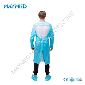 China Apron Style Thumbs Up Isolation Disposable CPE Gown on sale