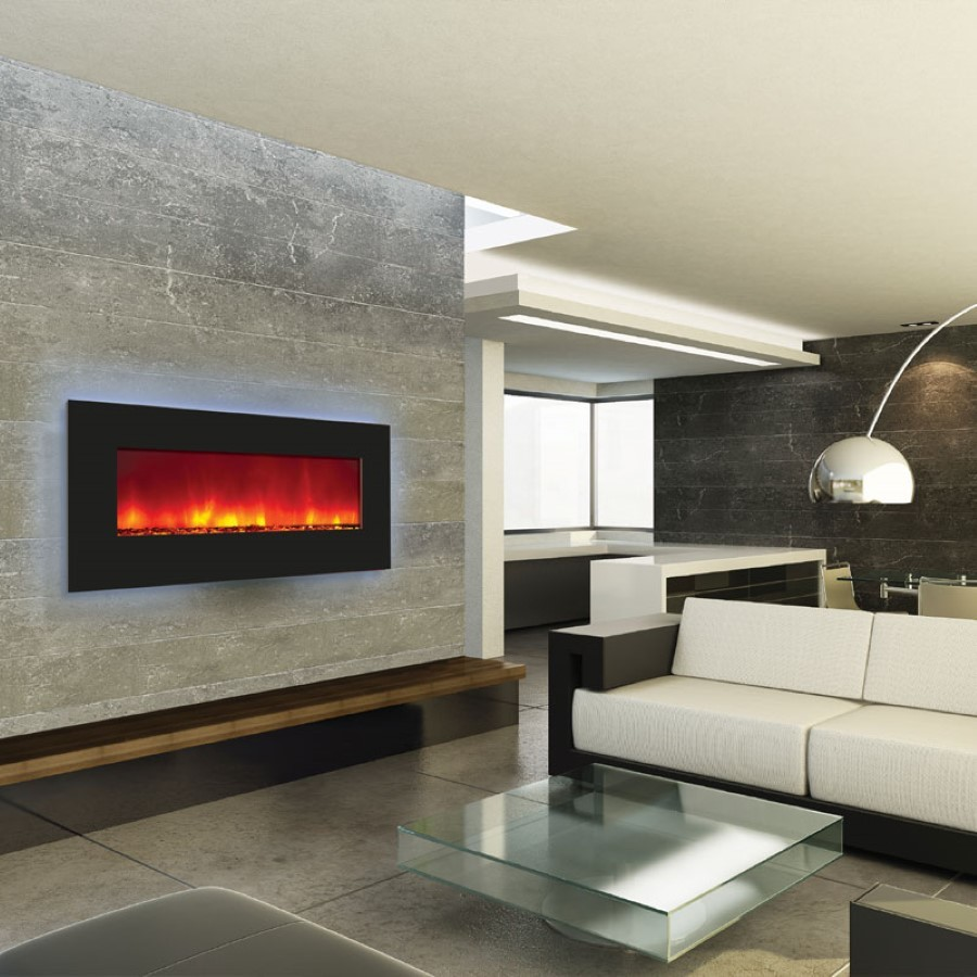 electric fireplace heater long linear contemporary modern flames