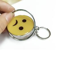 Smiling Face Custom Logo Keychains Yellow Circle With Eco-friendly Metal