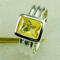 Simple fashion citrine GEM 5pcs 925 silver ring size 7 Promotions fast shipping