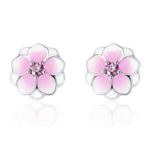 China 925 Sterling Silver Magnolia Bloom Stud Earrings Pale Cerise Enamel With Pink CZ on sale