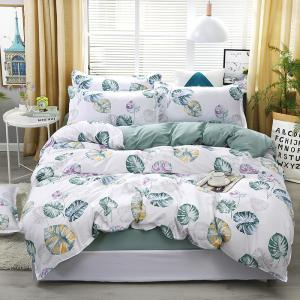 China Blue Banana Leaf Pattern Bedding Set Bed Linings Duvet Cover Bed Sheet Pillowcases Cover Set on sale