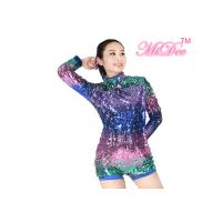 China MiDee Full Neon Color Sequined Long Sleeve Dance Biketard Jazz Costume on sale