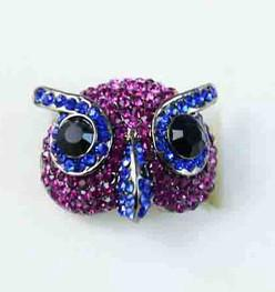 China Korea Style Colorful Spot Drilled Owl Gold Plated Alloy Ring, Fashion Ring on sale
