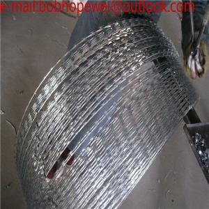 China galvanized razor barbed wire factory price,iron razor barbed wire fence,low carbon razor barbed wire mesh on sale