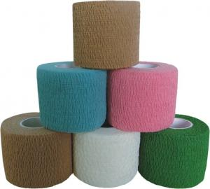 China Colored Tear by Hand Cotton Self - adhesive Cotton Elastic Bandage Tape on sale